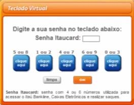 teclado virtual para inserir sua senha